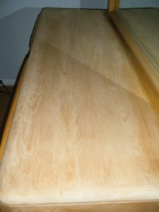 This is the top of the dresser after some sanding, which I did in the bedroom knowing I wasn't supposed to and got caught!