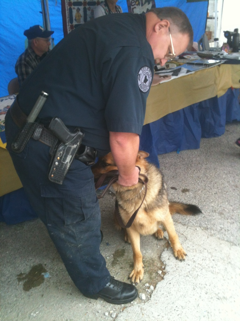 Fritz the German Police Dog with a Tick on her Eye...